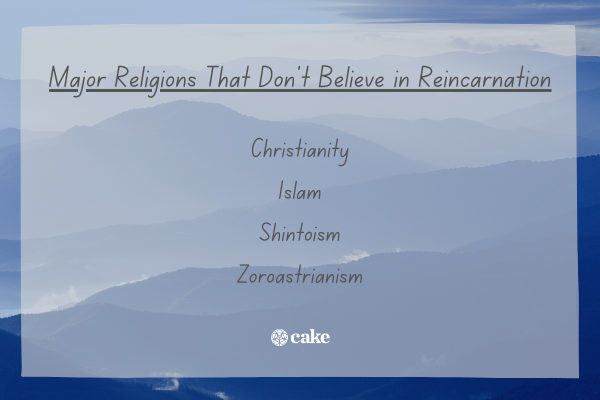 List of major religions that don't believe in reincarnation with an image of mountains in the background