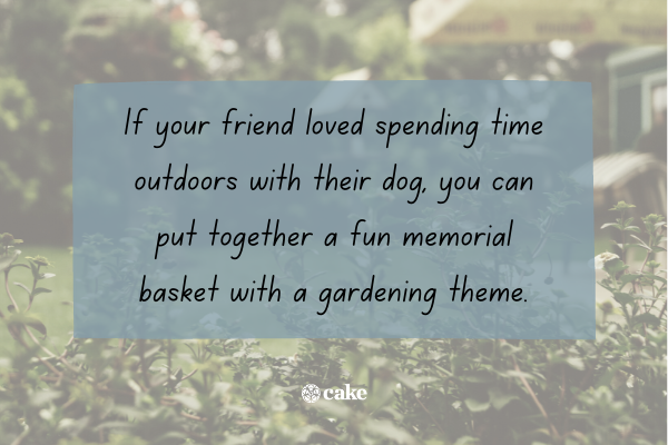 Gift idea with an image of a garden in the background