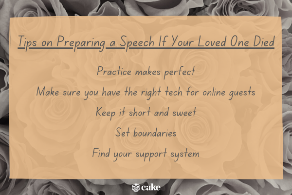 Tips on preparing a speech if your loved one died with an image of roses in the background