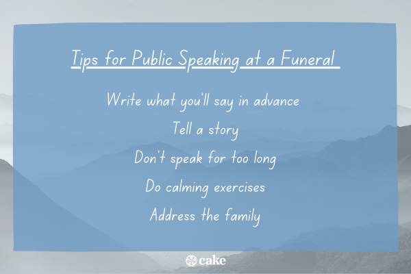 Tips for public speaking at a funeral with an image of mountains int he background