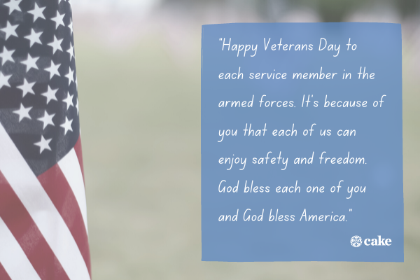Example of how to thank a veteran with an image of the US flag