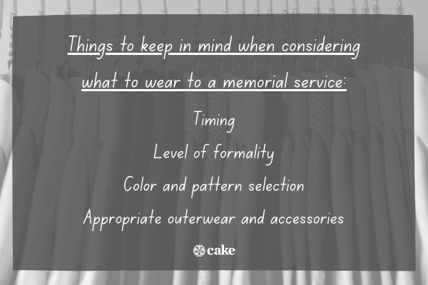 List of things to keep in mind when considering what to wear to a memorial service with an image of dress shirts in the background