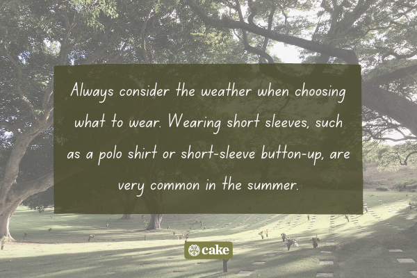 Tip for considering what to wear to a funeral with an image of a cemetery in the background