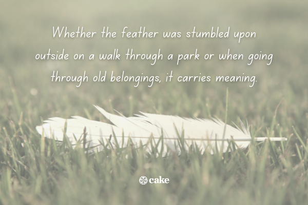 Text about the spiritual meaning of white feathers over an image of a white feather