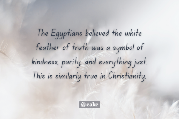 Text about where the symbolism of white feathers comes from over an image of white feathers