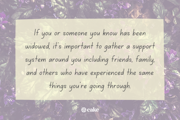 Tip on supporting someone who has been widowed with image of flowers in the background