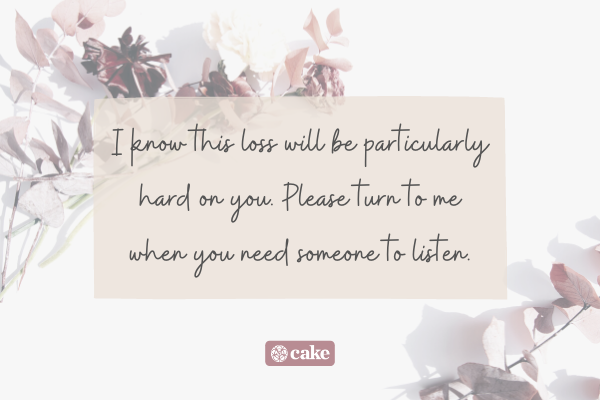 Words of sympathy for loss of a sister with flowers and leaves in the background
