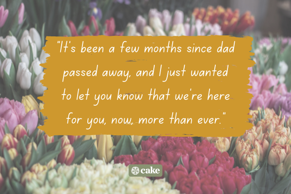 Example of how to say 'you're important to me' with an image of flowers in the background
